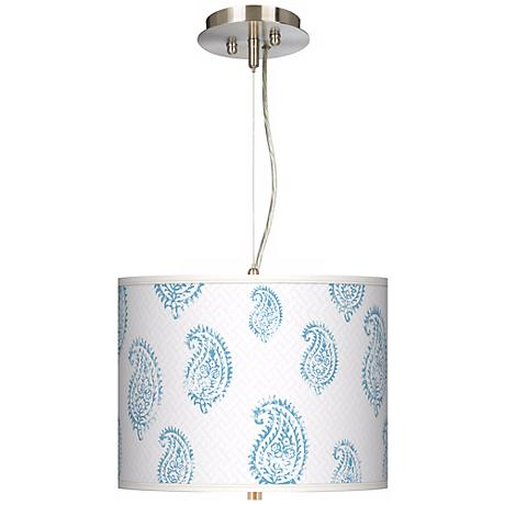 "Paisley Snow Giclee 13 1/2"" Wide Drum Pendant Chandelier"