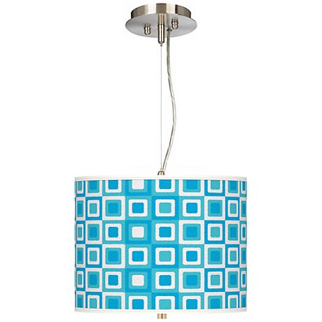 Blue Boxes Linen Giclee 2-Light Pendant Chandelier