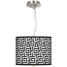 "Greek Key Giclee 13 1/2"" Wide Pendant Chandelier"