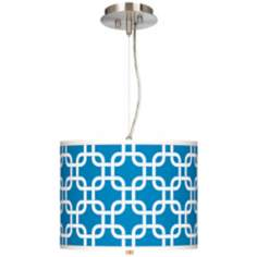 "Blue Lattice Giclee 13 1/2"" Wide Pendant Chandelier"