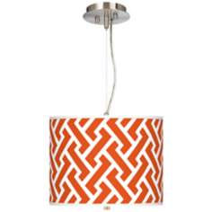 "Red Brick Weave Giclee 13 1/2"" Wide Pendant Chandelier"