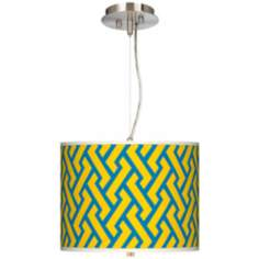 "Yellow Brick Weave Giclee 13 1/2"" Wide Pendant Chandelier"