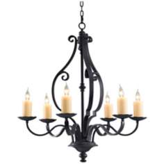 "King's Table 34"" Wide 6-Light Large Candle Chandelier"