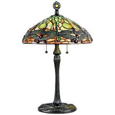 Quoizel Green Dragonfly Tiffany Style Table Lamp