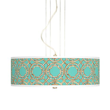 "Teal Bamboo Trellis 20"" Wide 3-Light Pendant Chandelier"
