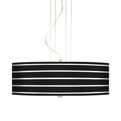 "Bold Black Stripe 20"" Wide 3-Light Pendant Chandelier"