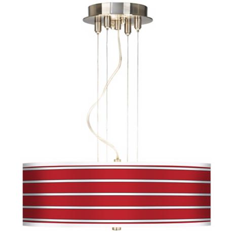 "Bold Red Stripes 20"" Wide 3-Light Pendant Chandelier"