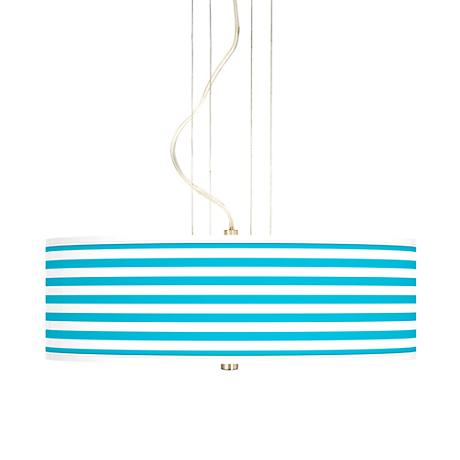 "Aqua Horizontal Stripe 20"" Wide 3-Light Pendant Chandelier"