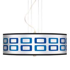 "Blue Rectangles 20"" Wide 3-Light Pendant Chandelier"