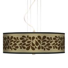 "Brown Splash On Tan 20"" Wide 3-Light Pendant Chandelier"