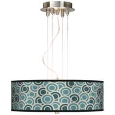 "Blue and Green Circlets 20"" Wide 3-Light Pendant Chandelier"