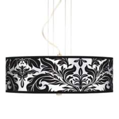"Black Tapestry 20"" Wide 3-Light Pendant Chandelier"