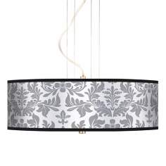 "Grey Flourish 20"" Wide 3-Light Pendant Chandelier"
