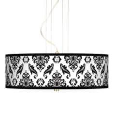 "Black Filigree 20"" Wide 3-Light Pendant Chandelier"