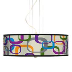 "Retro Square Scramble 20"" Wide 3-Light Pendant Chandelier"