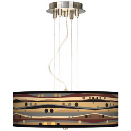 "Natural Dots and Waves 20"" Wide 3-Light Pendant Chandelier"