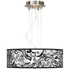 "Regency Black 20"" Wide 3-Light Pendant Chandelier"