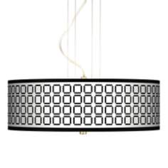 "Open Grid 20"" Wide 3-Light Pendant Chandelier"