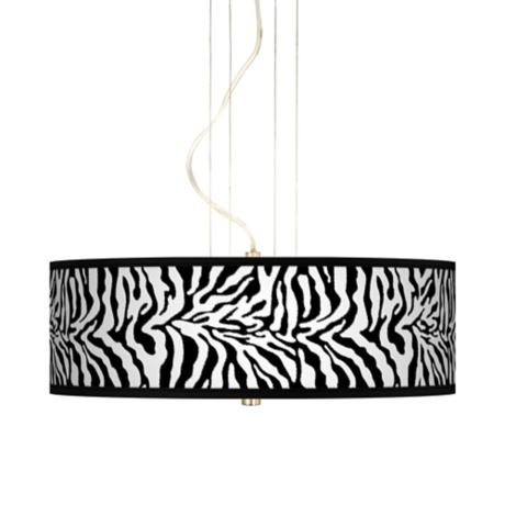"Safari Zebra Giclee 20"" Wide 3-Light Pendant Chandelier"