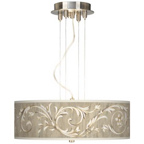 "Brushed Steel Laurel Court 20"" 3-Light Pendant Chandelier"