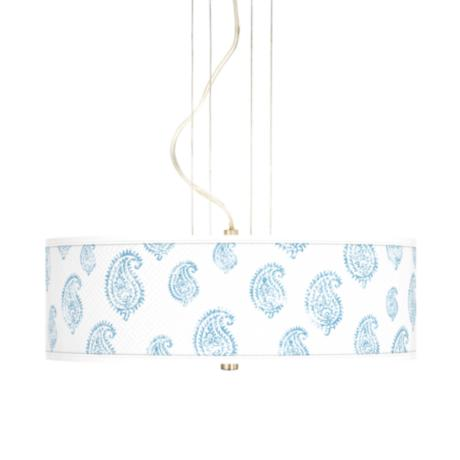"Paisley Snow Giclee 20"" Wide Three Light Pendant Chandelier"