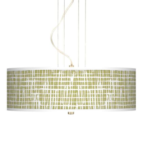 "Ecru Screen Linen Giclee 20"" Wide Pendant Chandelier"