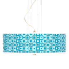 Blue Boxes Linen Giclee 3-Light Pendant Chandelier