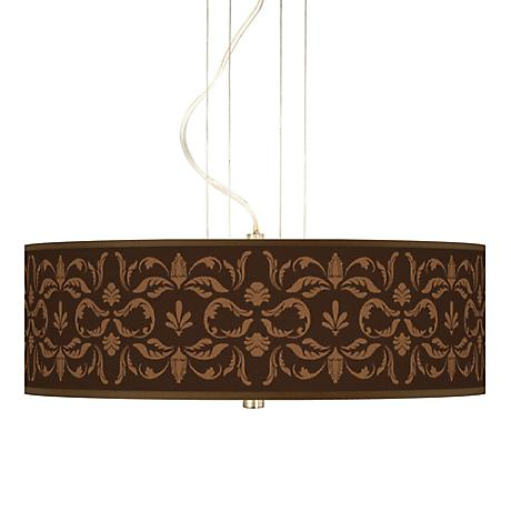 Mocha Flourish Linen Giclee 3-Light Pendant Chandelier