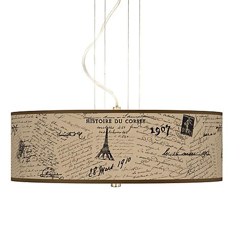 Letters to Paris Giclee 3-Light Pendant Chandelier