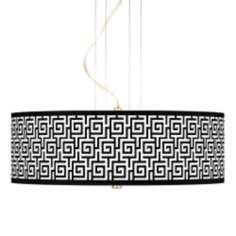 "Greek Key Giclee 20"" Wide 3-Light Pendant Chandelier"