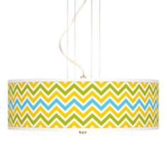 "Citrus Zig Zag Giclee 20"" Wide 3-Light Pendant Chandelier"