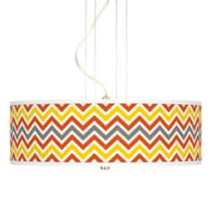 "Flame Zig Zag Giclee 20"" Wide 3-Light Pendant Chandelier"