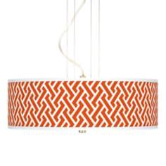 "Red Brick Weave Giclee 20"" Wide 3-Light Pendant Chandelier"
