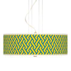 "Yellow Brick Weave 20"" Wide 3-Light Pendant Chandelier"