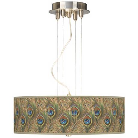 "Iridescent Feather 20"" Wide 3-Light Pendant Chandelier"