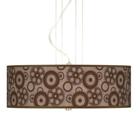 "Industrial Gears 20"" Wide 3-Light Pendant Chandelier"
