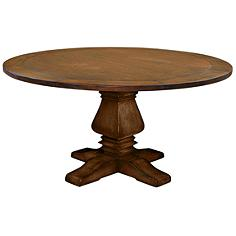Toscana Medium Round Cognac Wood Dining Table