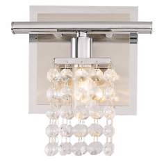 "Sparkle Chrome 6"" Wide Crystal Bathroom Light Fixture"