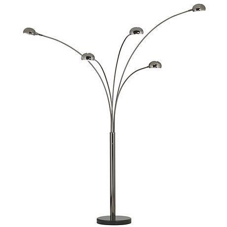 Black Chrome 5-Light Arc Floor Lamp