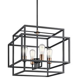 "Kichler Taubert 18""W Black Steel Open-Cube 4-Light Pendant"