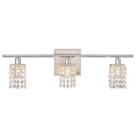 "Sparkle Chrome 23 1/4"" Wide Crystal Bathroom Light Fixture"