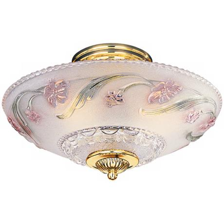 "Pink Flower Antique Look 14"" Wide Ceiling Light"