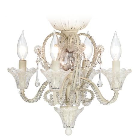 Pull Chain Crystal Bead Candelabra Ceiling Fan Light Kit - #19775 ...