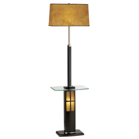 Nova Dark Wood and Glass Tray Floor Lamp with Night Light