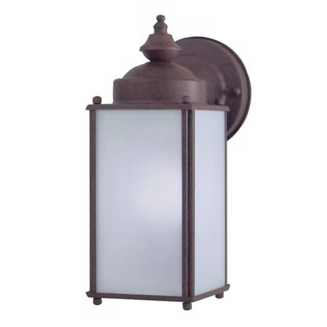 "Antique Bronze 10 1/4"" High Frosted Glass Outdoor Light"