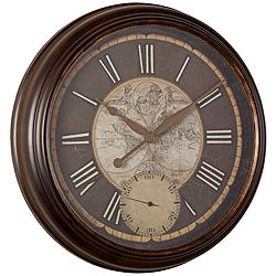 "Cooper Classics Hillis Natural Brown 25"" Round Wall Clock"