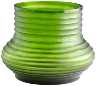 "Cyan Design Leo 9"" Wide Medium Ribbed Green Glass Vase (19K80) 19K80"