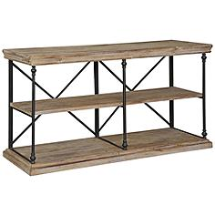 Crestview Collection La Salle Natural Wood and Metal Console