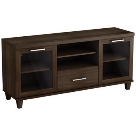 Adrian 2-Glass Door Brown TV Stand