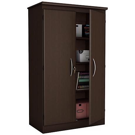 Morgan 2-Door Locking Chocolate Storage Cabinet
